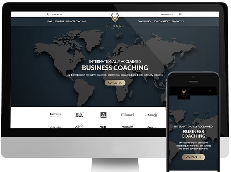 Completed project for business coach by web design company in Stirling