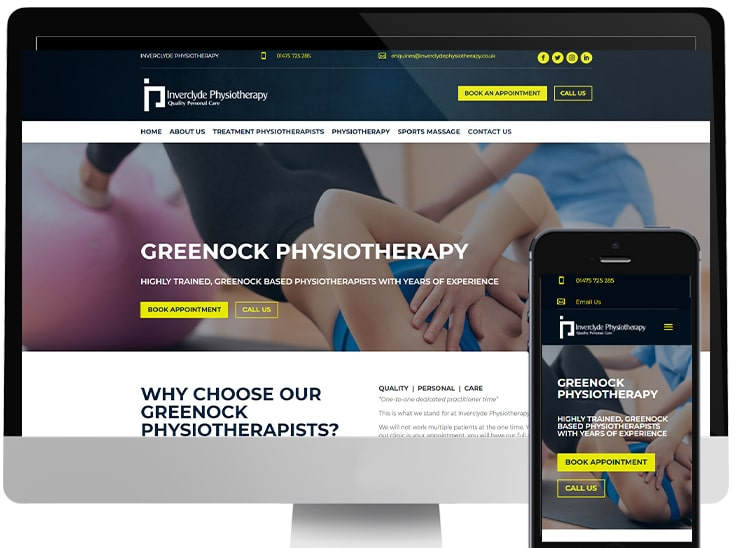 Website designer in Stirling completed site for physiotherapist