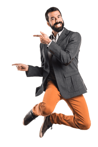 Happy man jumping and pointing at Aesthetic Web Deigns Skills